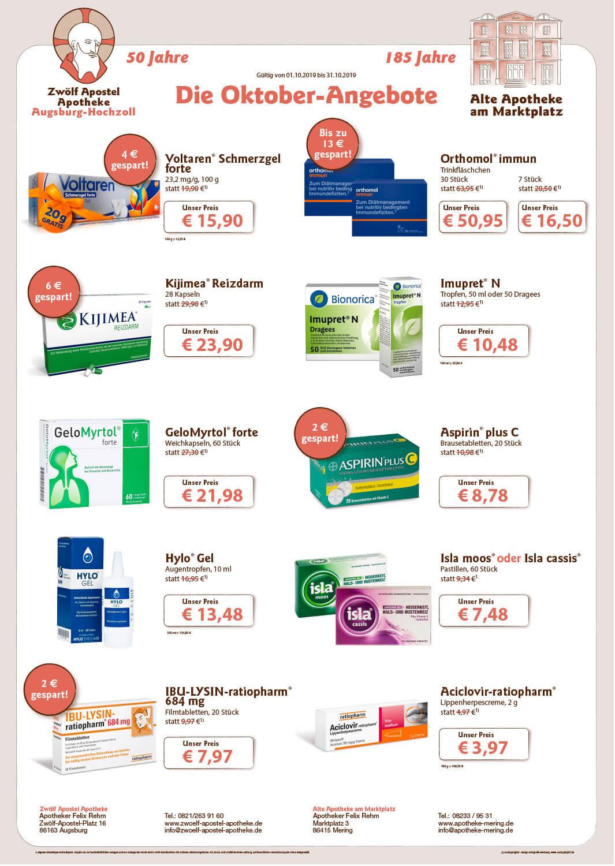 Unsere aktuellen Monats-Angebote: Alte Apotheke am Marktplatz und Zwölf Apostel Apotheke