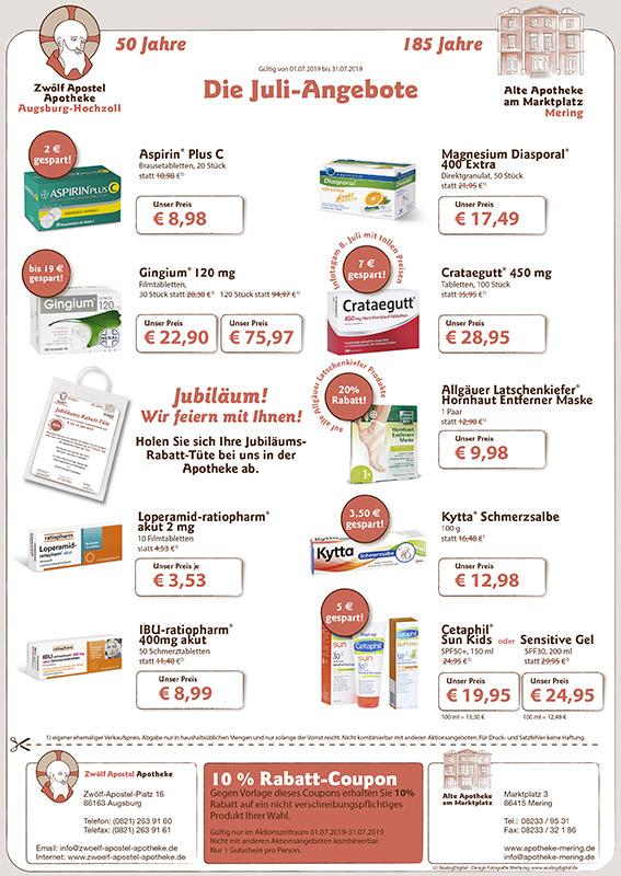 Alte Apotheke am Marktplatz Mering: Monatsaktionen Juli 2018